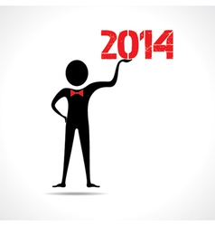 Man holding 2014 text vector image