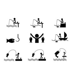 set of fishing icons in silhouette style vector image vector image