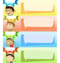 Speech bubble templates with four boys vector image vector image