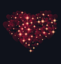 abstract design - heart with glowing sparkling vector image