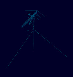 antenna wireframe of blue lines on a dark vector image