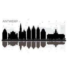 Antwerp belgium city skyline black and white vector