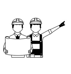 architect and foreman with blueprint vector image