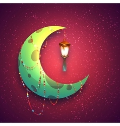 Banner with moon and arabic lantern for holy month vector