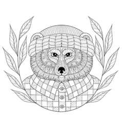 Bear in hat with wreath entangle doodle style vector