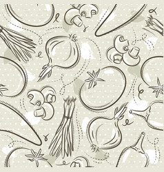 Beige seamless patterns with vegetable tomato vector