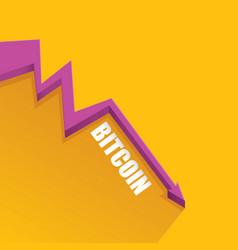 Bitcoin market crash graph on orange vector