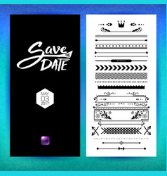 Black and white save the date clip art vector