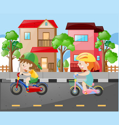 Boy and girl riding bike on the road vector