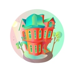 Bright house in the springtime Cottage in vector image