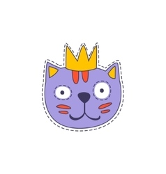 Cat in A Crown Bright Hipster Sticker vector image