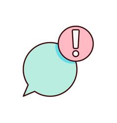 chat alert icon warning vector image