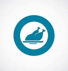 chicken icon bold blue circle border vector image