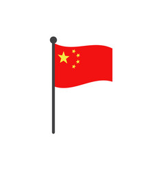 china flag with pole icon isolated on white vector image