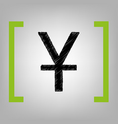 chinese yuan sign black scribble icon in vector image
