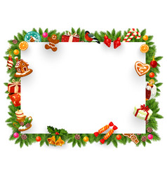 christmas holiday frame with xmas tree branches vector image