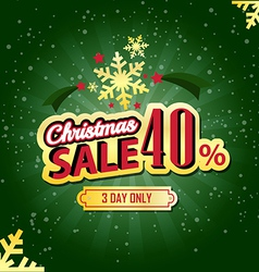 Christmas Sale 40 Percent typographic background vector image