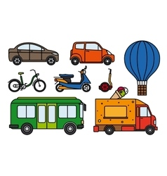 City transport flat linear icons set vector image