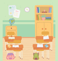 classroom with school furniture desks and shelves vector image