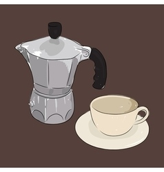 Coffee cup and coffee maker geyser vector