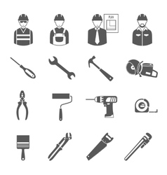 Construction workers tools black icons set vector image