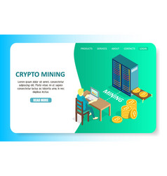 Crypto mining landing page website template vector