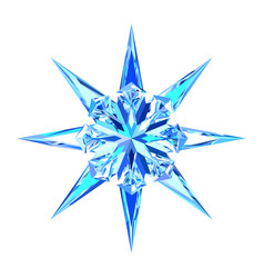 Cute blue ice snowflake star vector