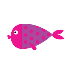 cute cartoon fish icon set isolated bakids vector image