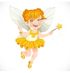 Cute little autumn fairy girl with a Magic wand vector image