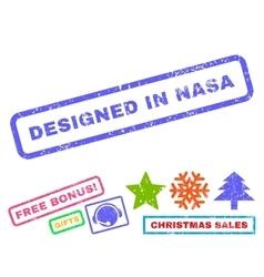 Designed in nasa rubber stamp vector