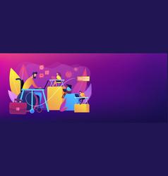 Disabled employment concept banner header vector