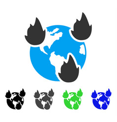 Earth disasters flat icon vector