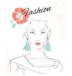 Fashion portrait of sensual woman vector image