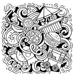 Fastfood hand drawn doodles vector