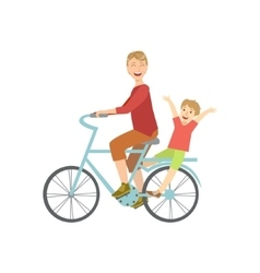 Father Riding A Bicycle With His Kid On The Back vector