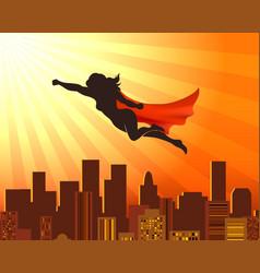 Flying girl superhero vector