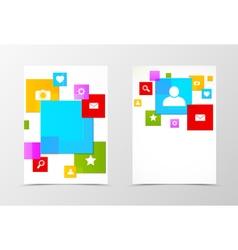 Front and back social media flyer template design vector