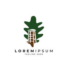 furniture logo design with leaf symbol vector image