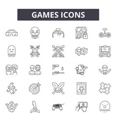 Games line icons for web and mobile design vector