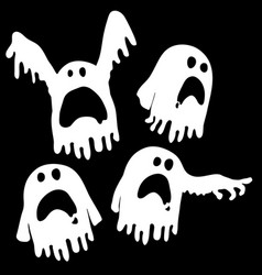 Ghosts outline white vector