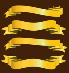 Gold ribbons banners vector