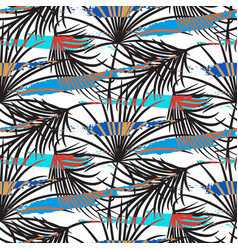 Gray palm leaves with blue strokes seamless vector