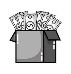 Grayscale box open with bills dollar vector