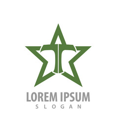 Green star with t letter concept design symbol vector