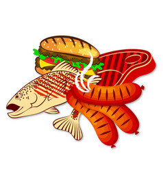 grilled fish and meat vector image