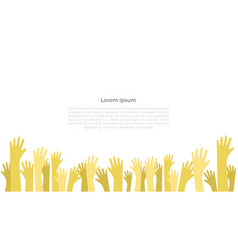 hands raised up background symbol of freedom vector image