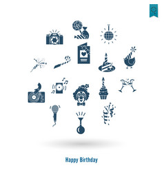happy birthday icons set vector image vector image