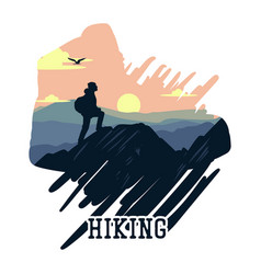hiking with hiker on mountain scenery flat vector image