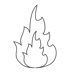Hot flame spurts fire design line vector