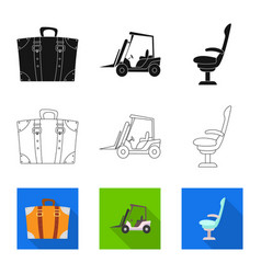 Isolated object of airport and airplane symbol vector